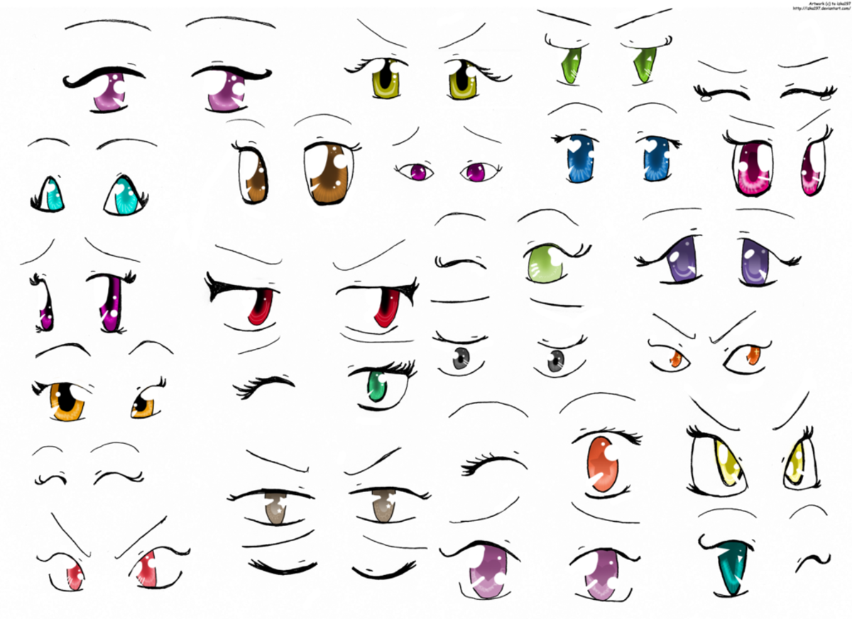 A good thing to do is to make a page like this where you just draw lots of varieties of anime-style eyes, perhaps while looking at your favorite manga for cues about how the eyes should look to convey different moods and personality aspects.