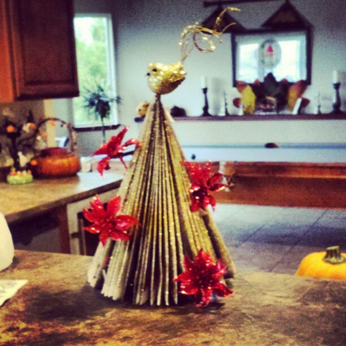 Christmas tree made with magazine