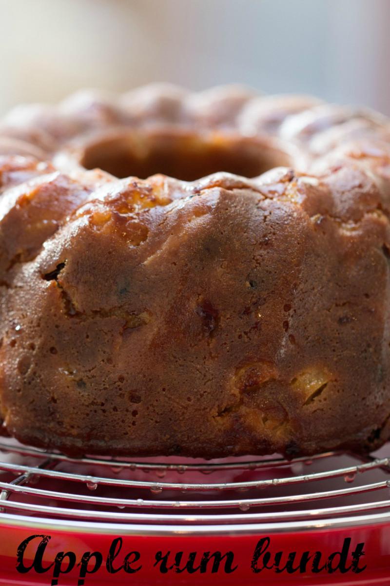 Apple bundt cake with a rum glaze.
