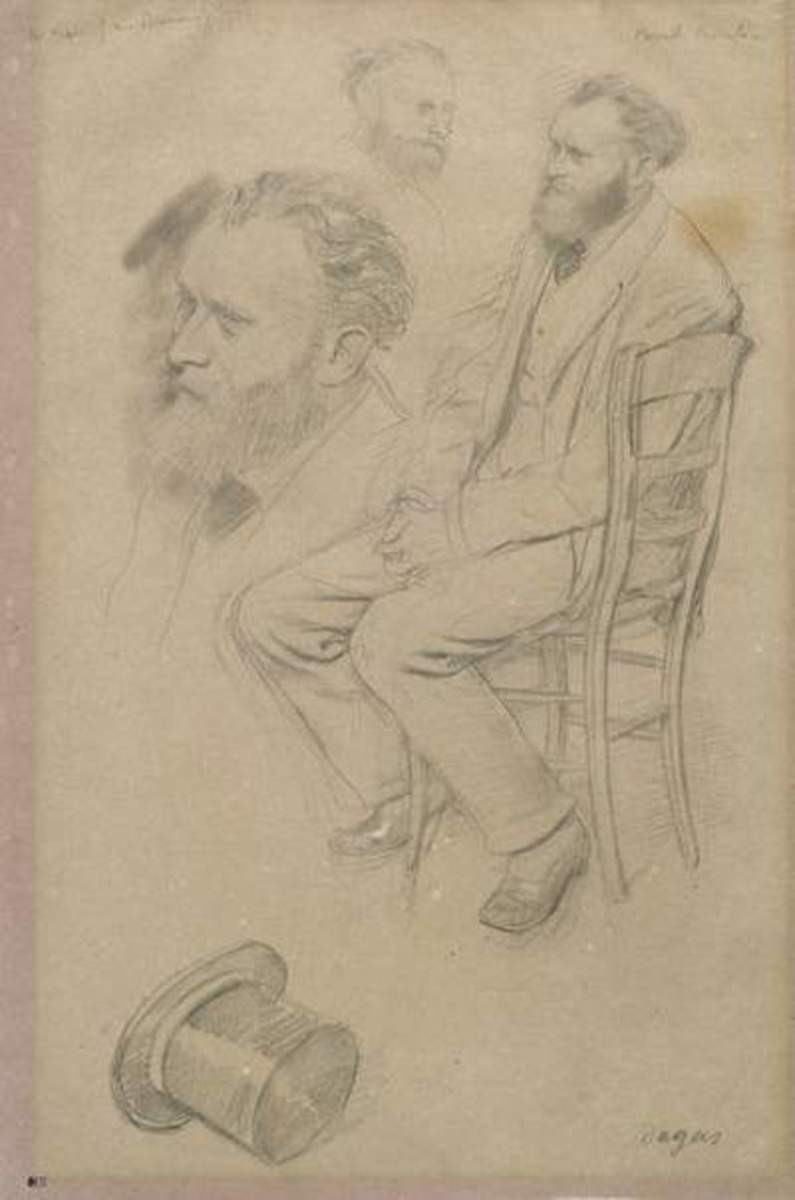 "This is an early sketch, where the artist, in addition to rendering a full figure, adds two alternate heads and a top hat. In ""Portrait of Edouard Manet sitting in a chair"" Degas is elaborating his ideas without worrying about creating a final piece."