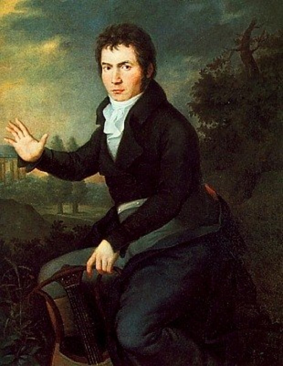 Portrait of Beethoven in 1804, towards the beginning of his middle period.