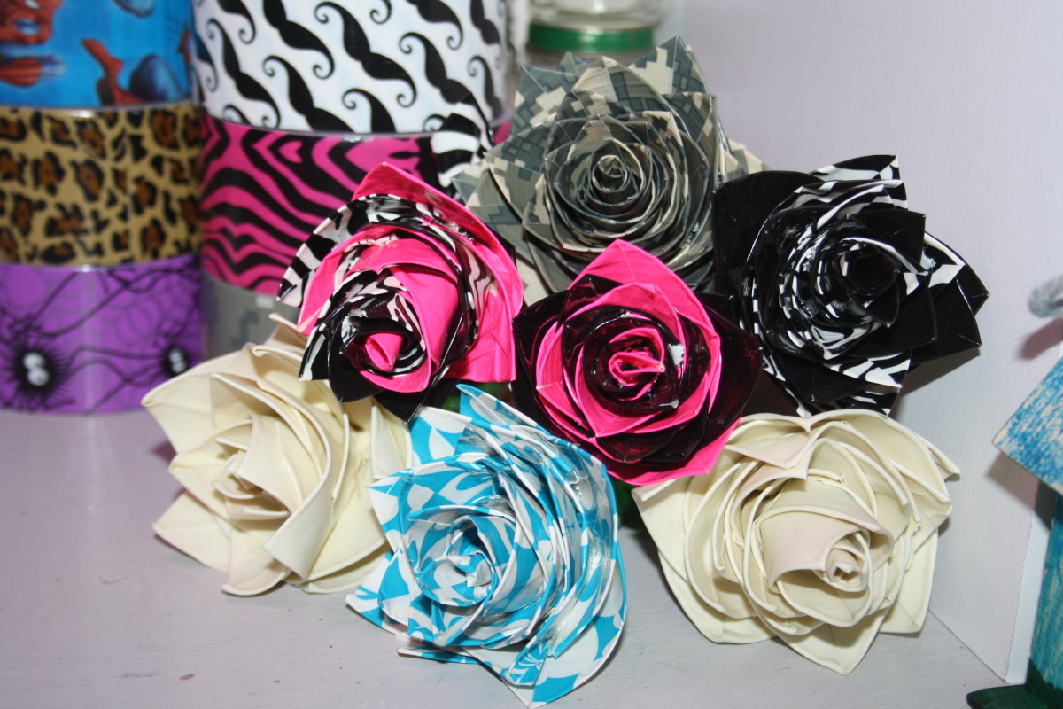 These are a few of my favorite roses made from duct tape.