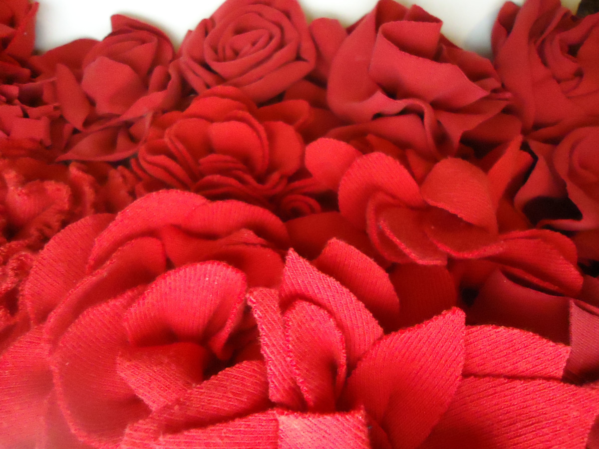 Flowers made from an old red t-shirt.