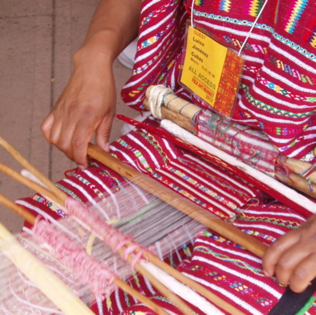 Demonstration of Mexican hand weaving.