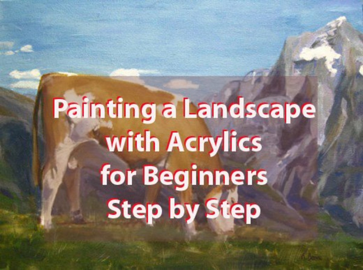 """Cow on Mountain"" Landscape Acrylic Painting: Step-by-Step Process"