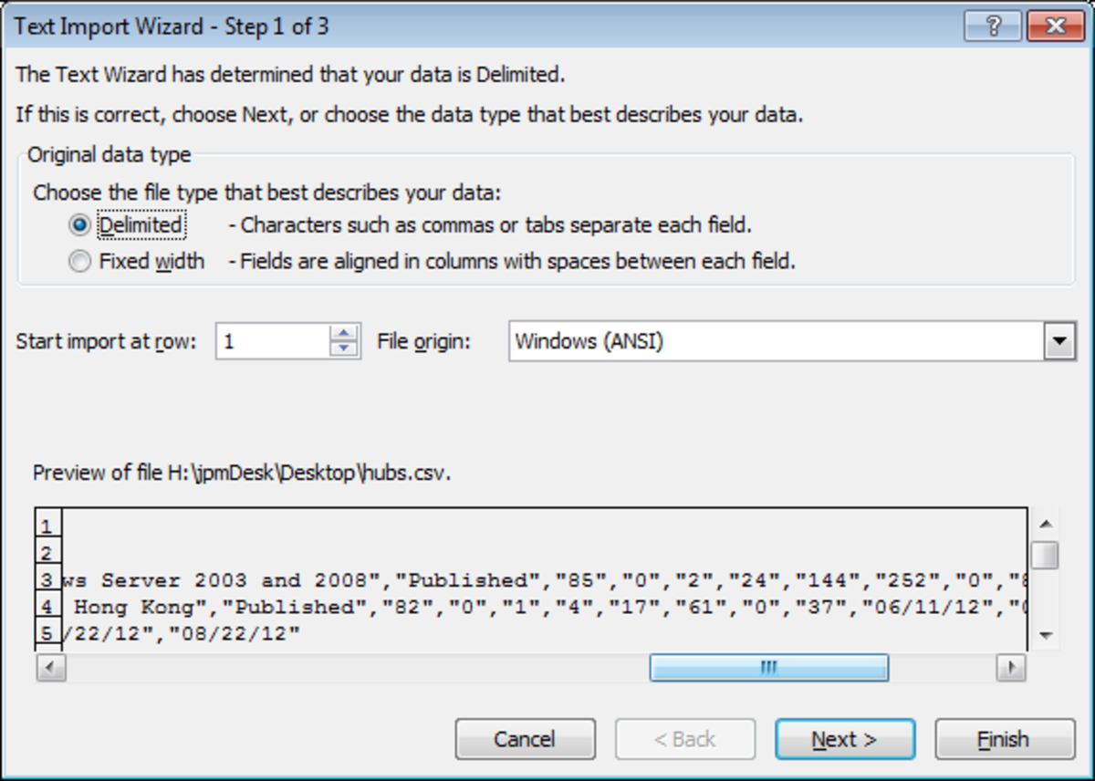 The Text Import Wizard Stage 1 of 3 in Excel 2007.