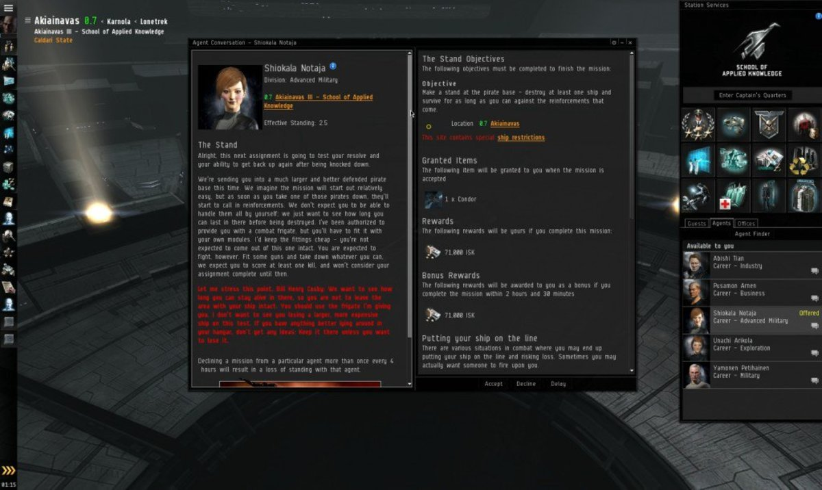 """""""EVE Online"""" Advanced Military Arc Guide: The Stand (Mission 5)"""