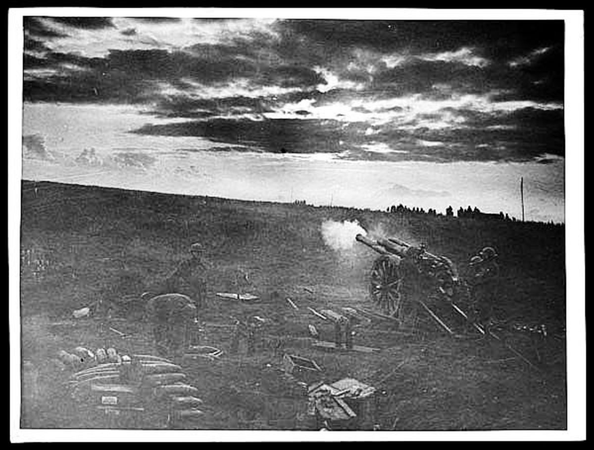 WW1: Field gun firing at dawn.