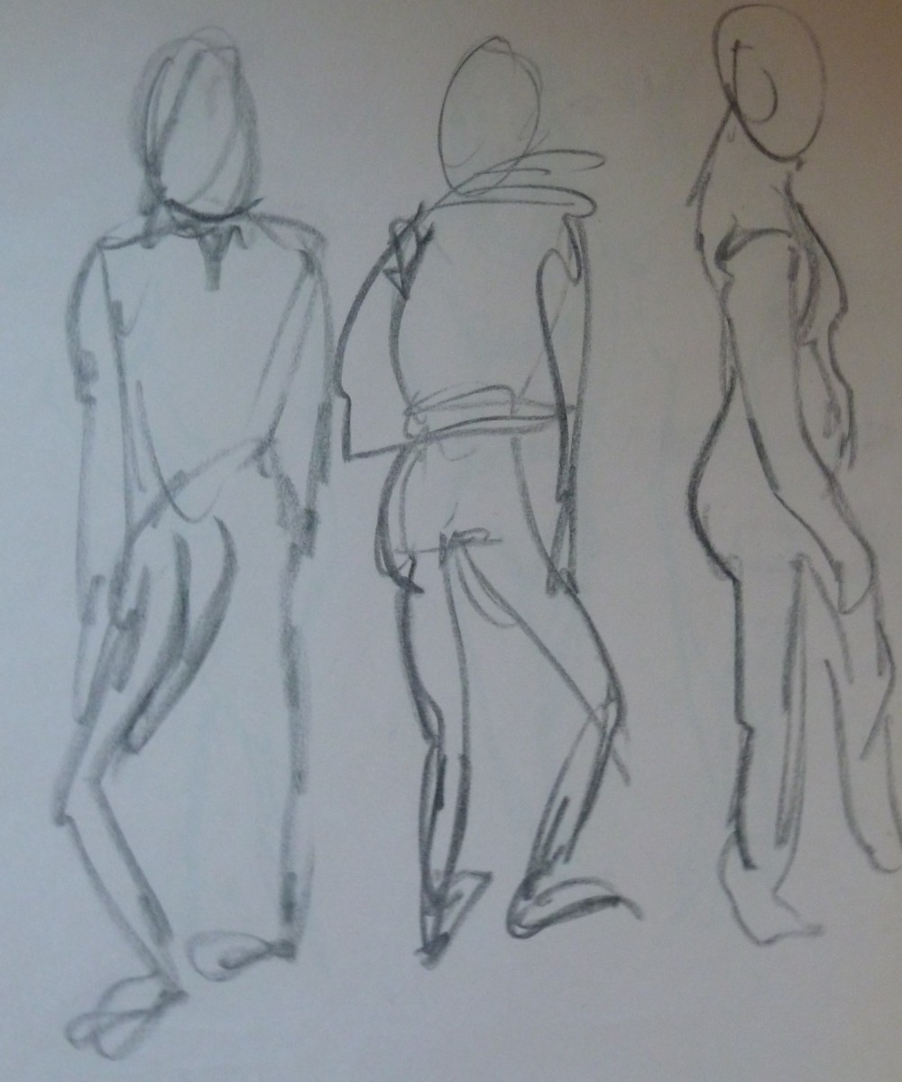 These drawings were executed in a very short time (10 seconds per drawing).