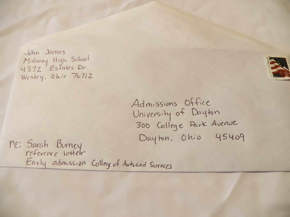 College Recommendation Envelope Address
