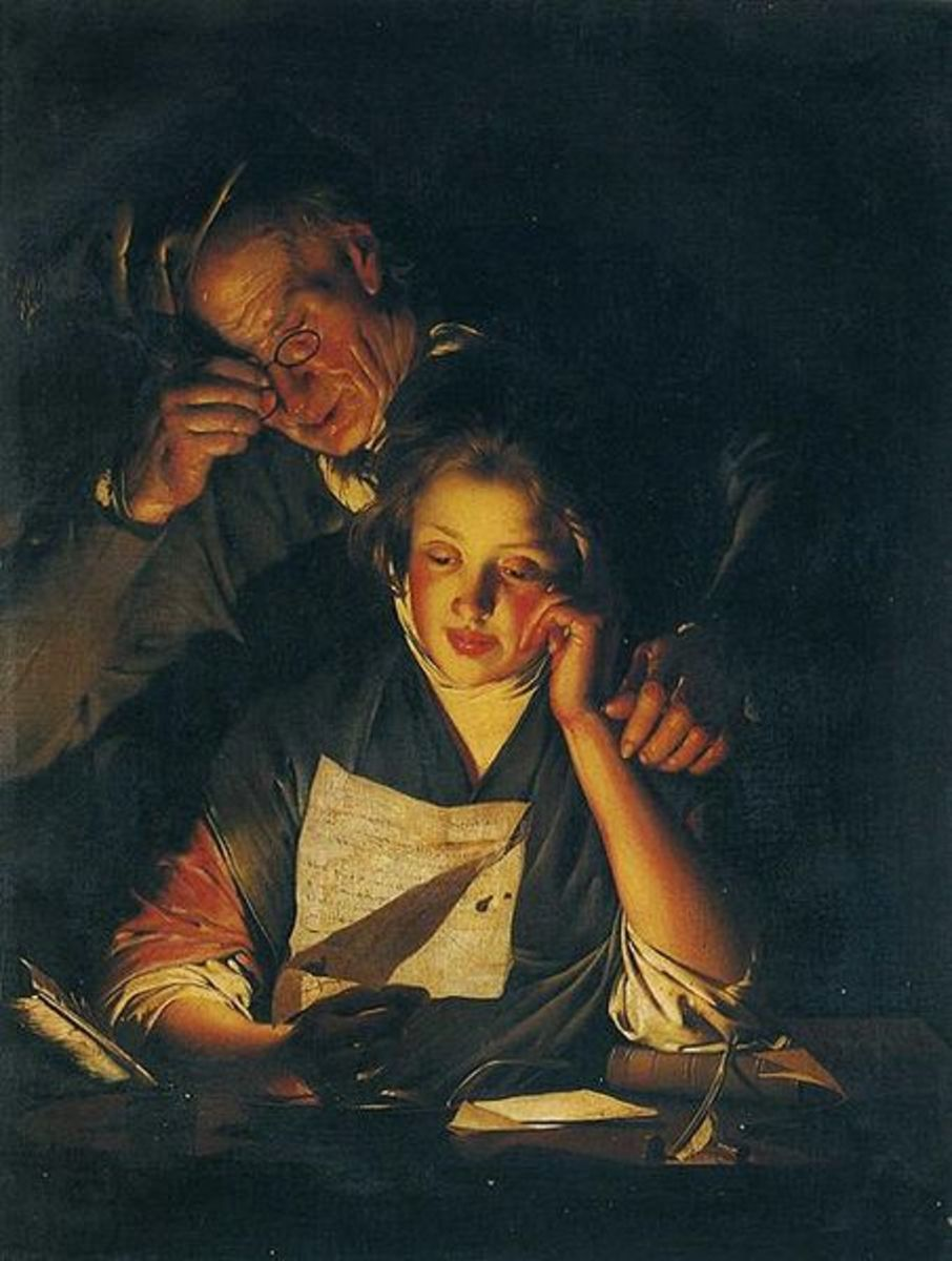 """A Young Girl Reading a Letter, With an Old Man Reading Over her Shoulder"" by Joseph Wright of Derby"