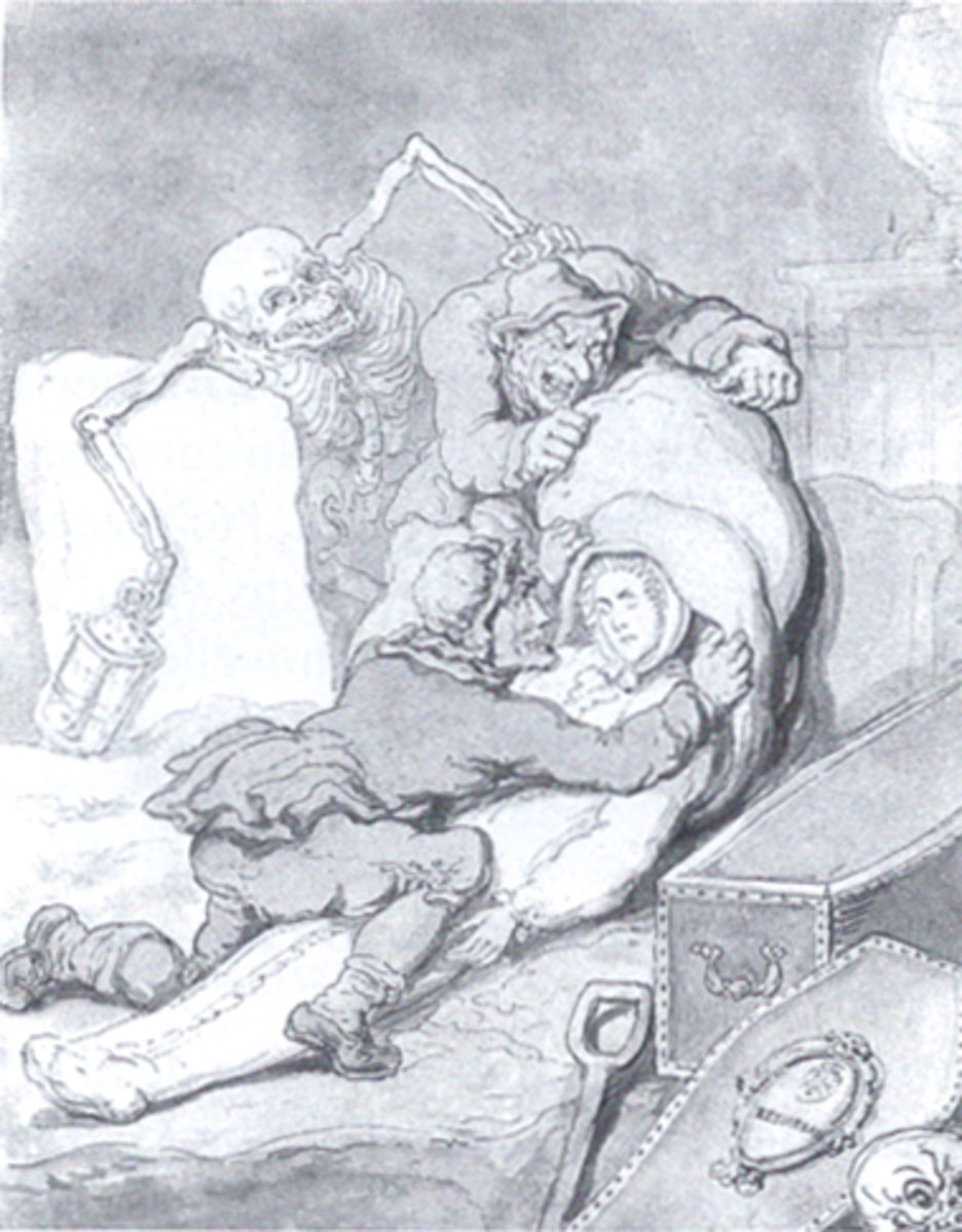 The Resurrection Men - 18th century cartoon by Thomas Rowlandson