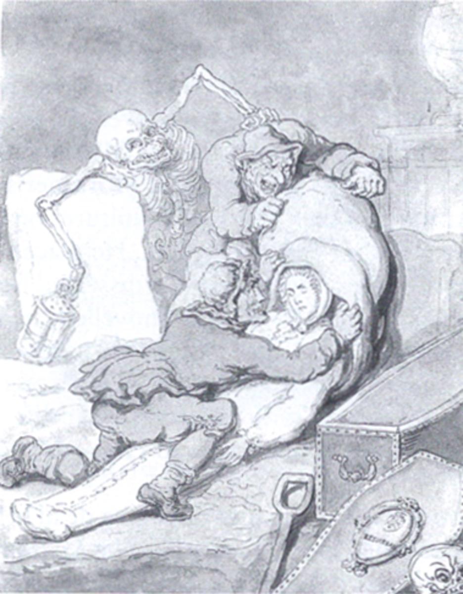 The Resurrection Men - 18th century cartoon by Thomas Rowlandson