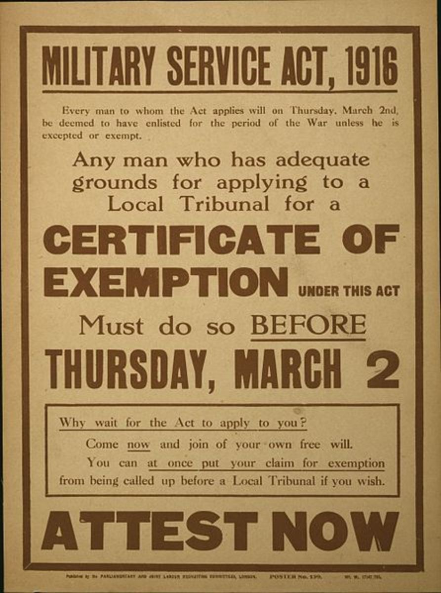 Conscription poster urging men to apply early if they had grounds for exemption.