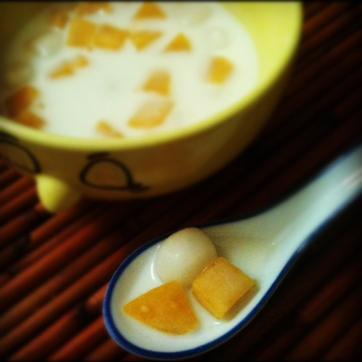 Bua loy is a Thai dessert soup with rice-flour balls and pumpkin.