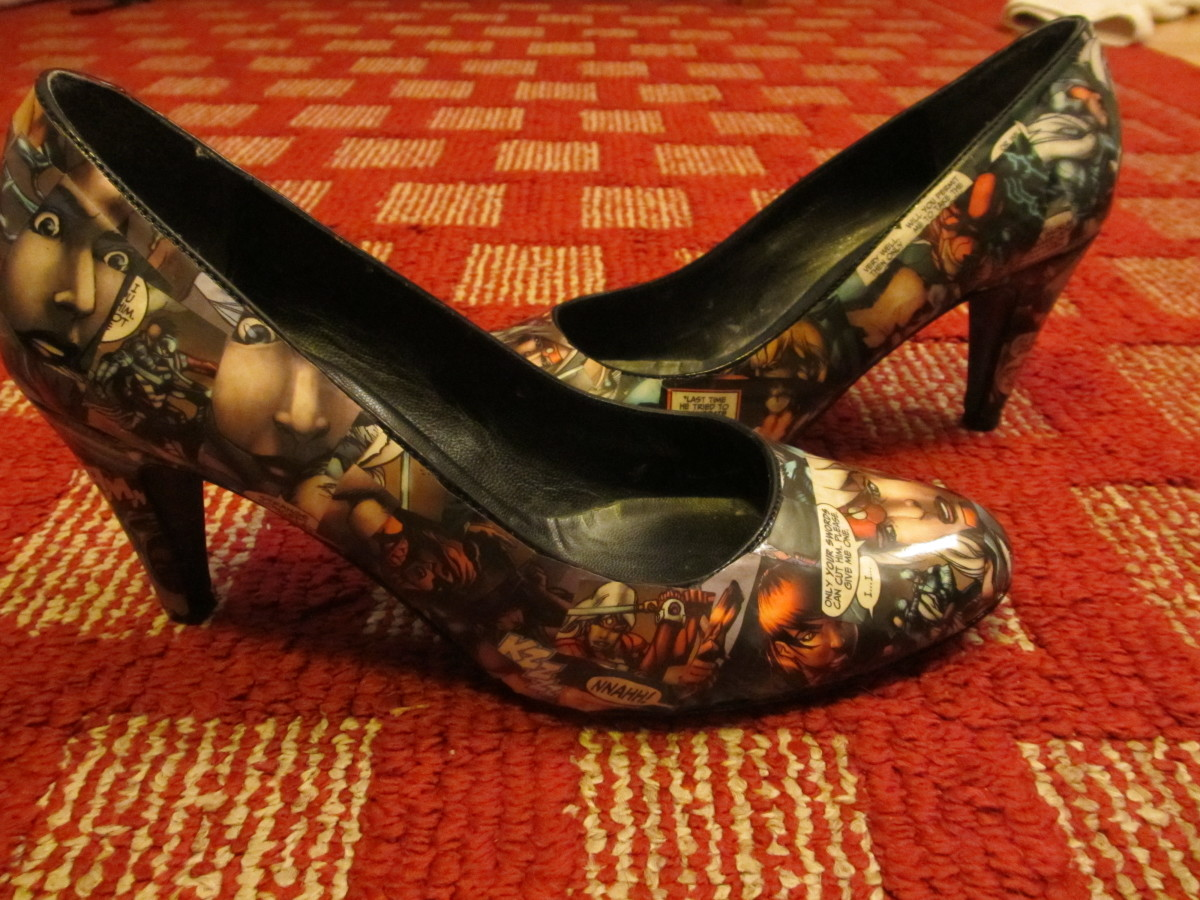 My finished comic book pumps!