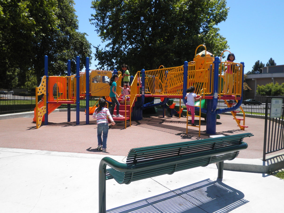 A playground in Fremont, California using a poured playground surface made from recycled scrap tires.