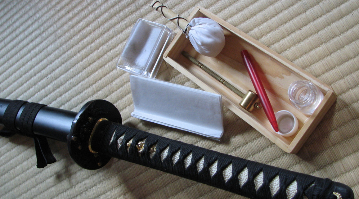 Japanese katana, saya and sword cleaning kit.