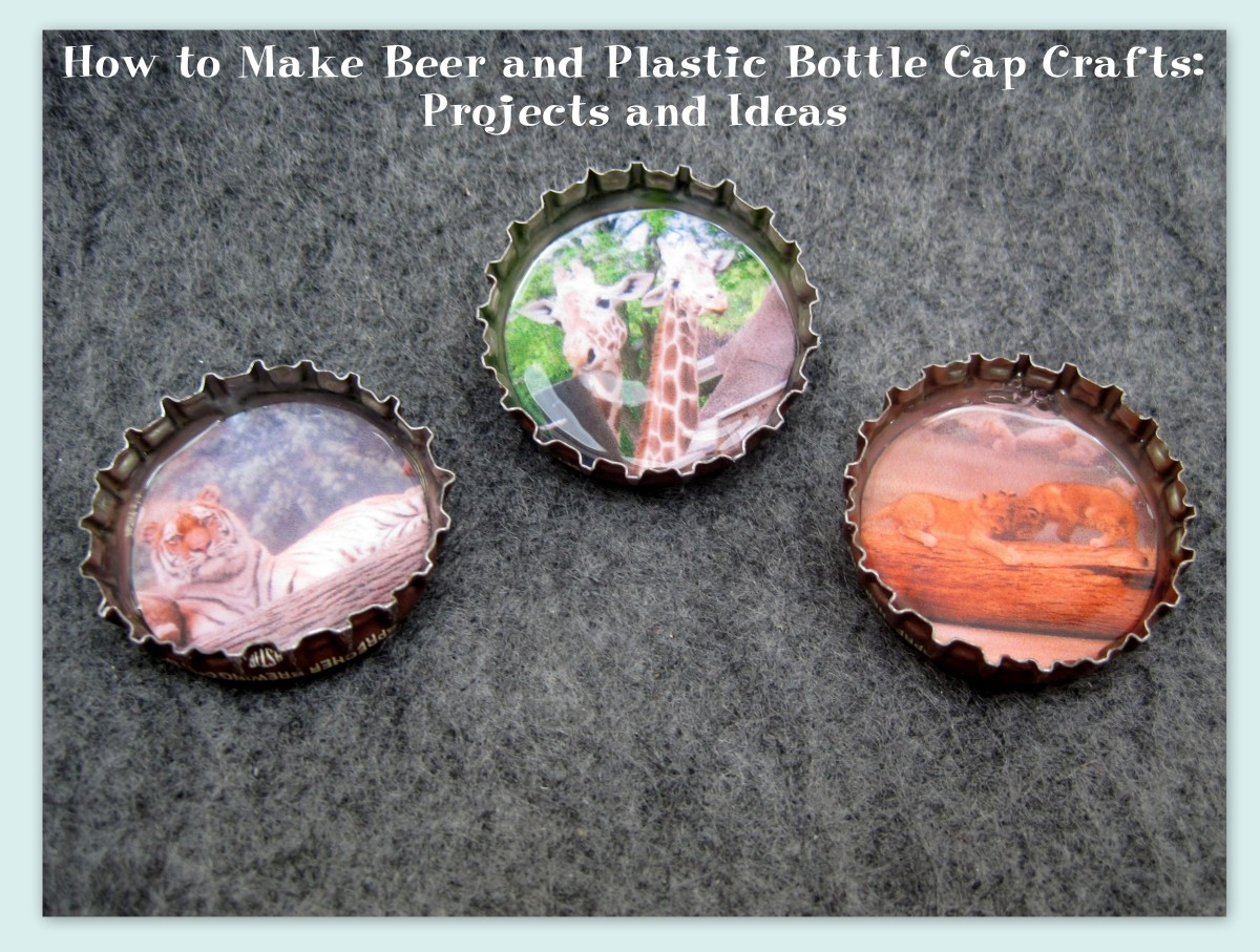 I chose to make these decorated metal bottle caps into magnets. The possibilities for them are endless.