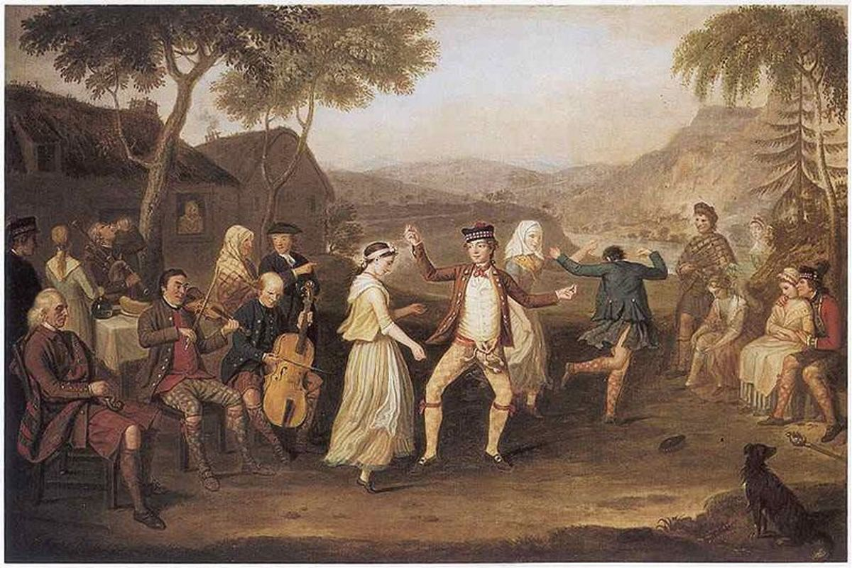 Painting titled 'The Highland Wedding' by David Allan (1780)
