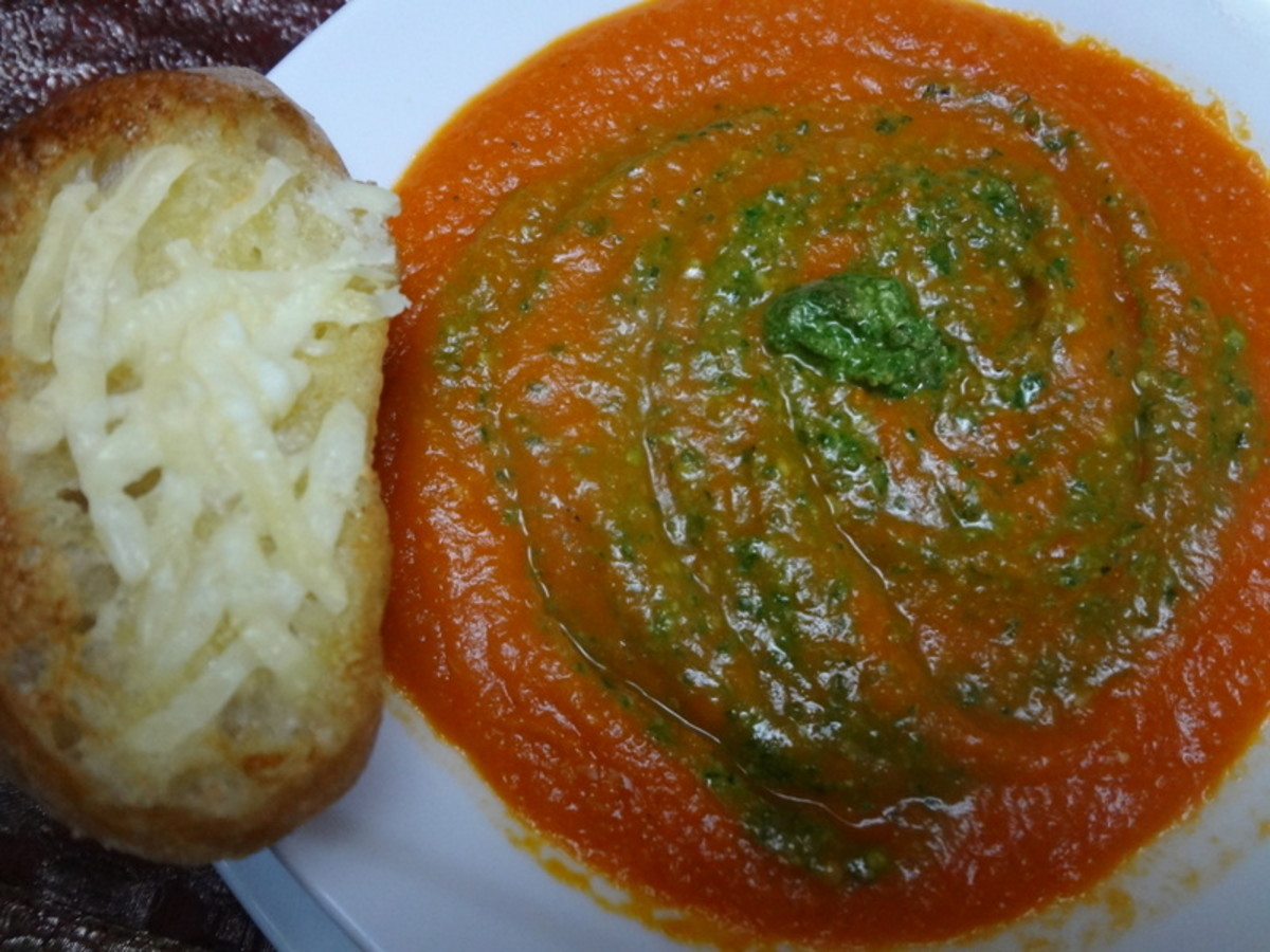 Homemade Tomato Soup With Fresh Basil Pesto