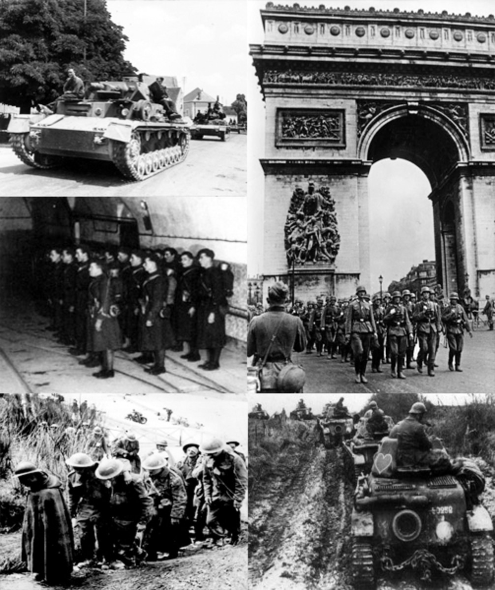 Top left: German Panzers passing through a French town. Top right: German soldiers marching past the Arc de Triomphe after capturing Paris. Middle left: French soldiers on the Maginot Line. Bottom left: Allied POW's. Bottom right: French tanks.