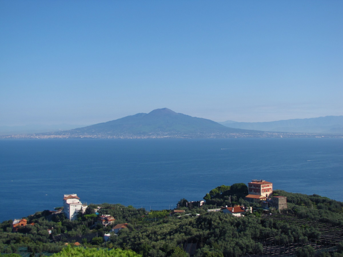 Mt Vesuvius and the Bay of Naples from the hills above Sorrento.