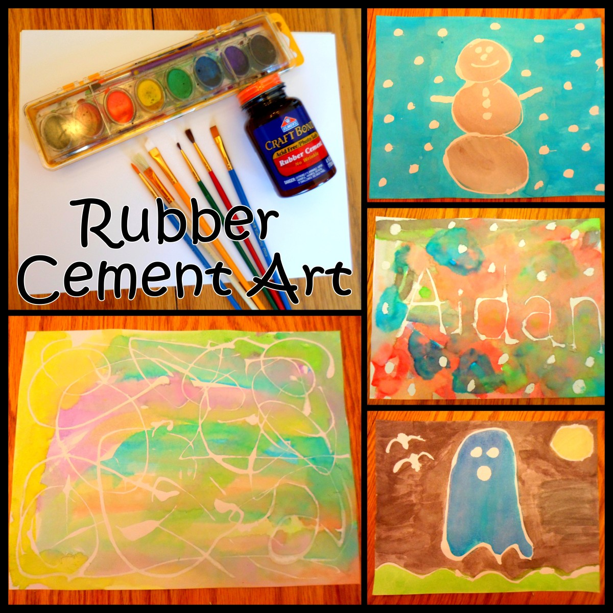 Create fun art projects with rubber cement and watercolor paint.