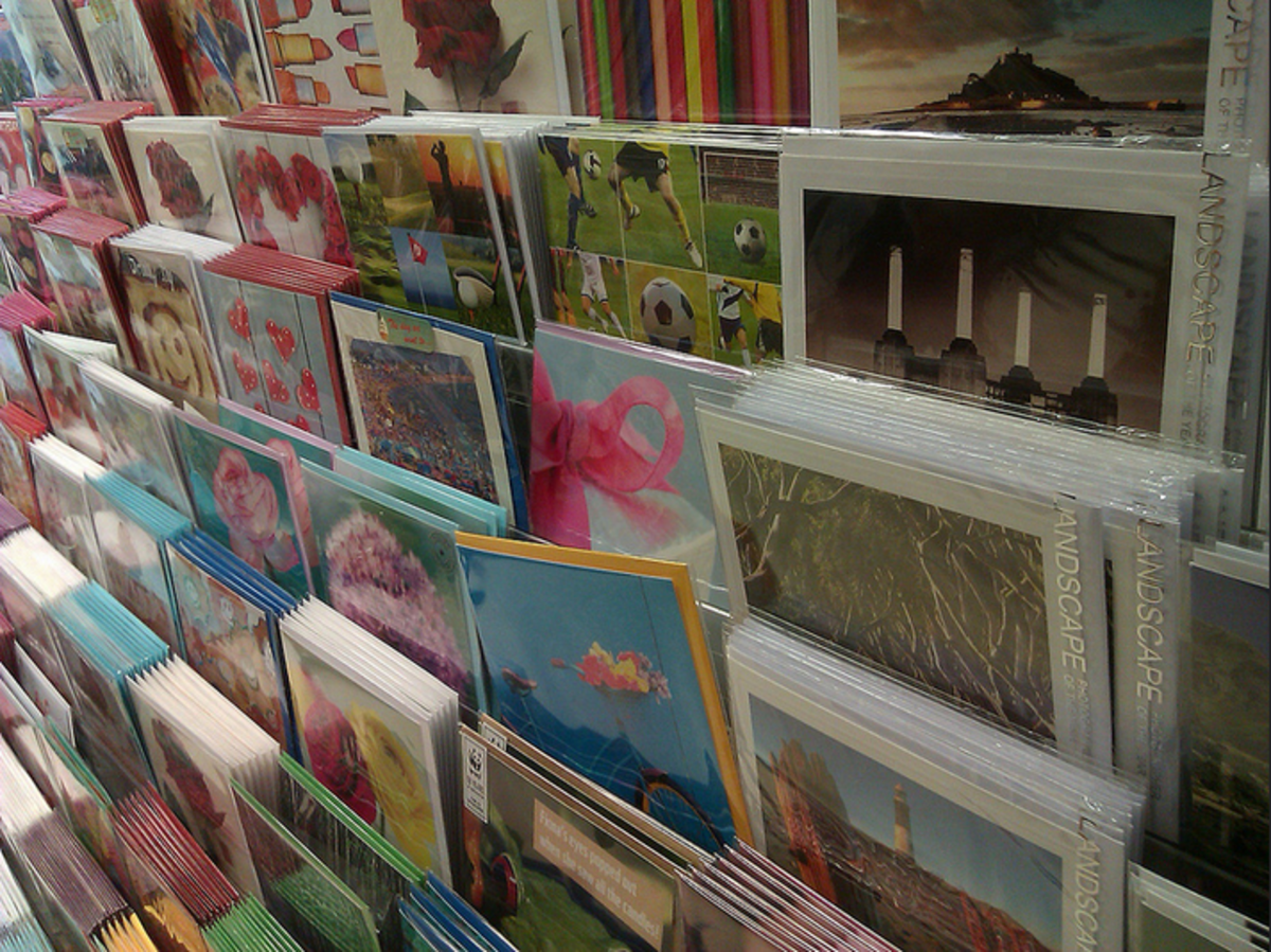 Anniversary cards on a display rack.
