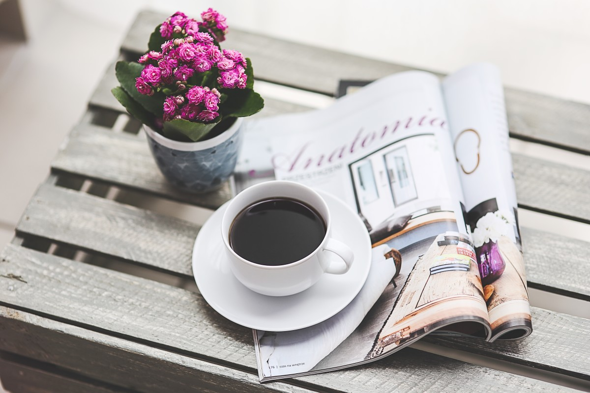 A cup of coffee and a magazine to read
