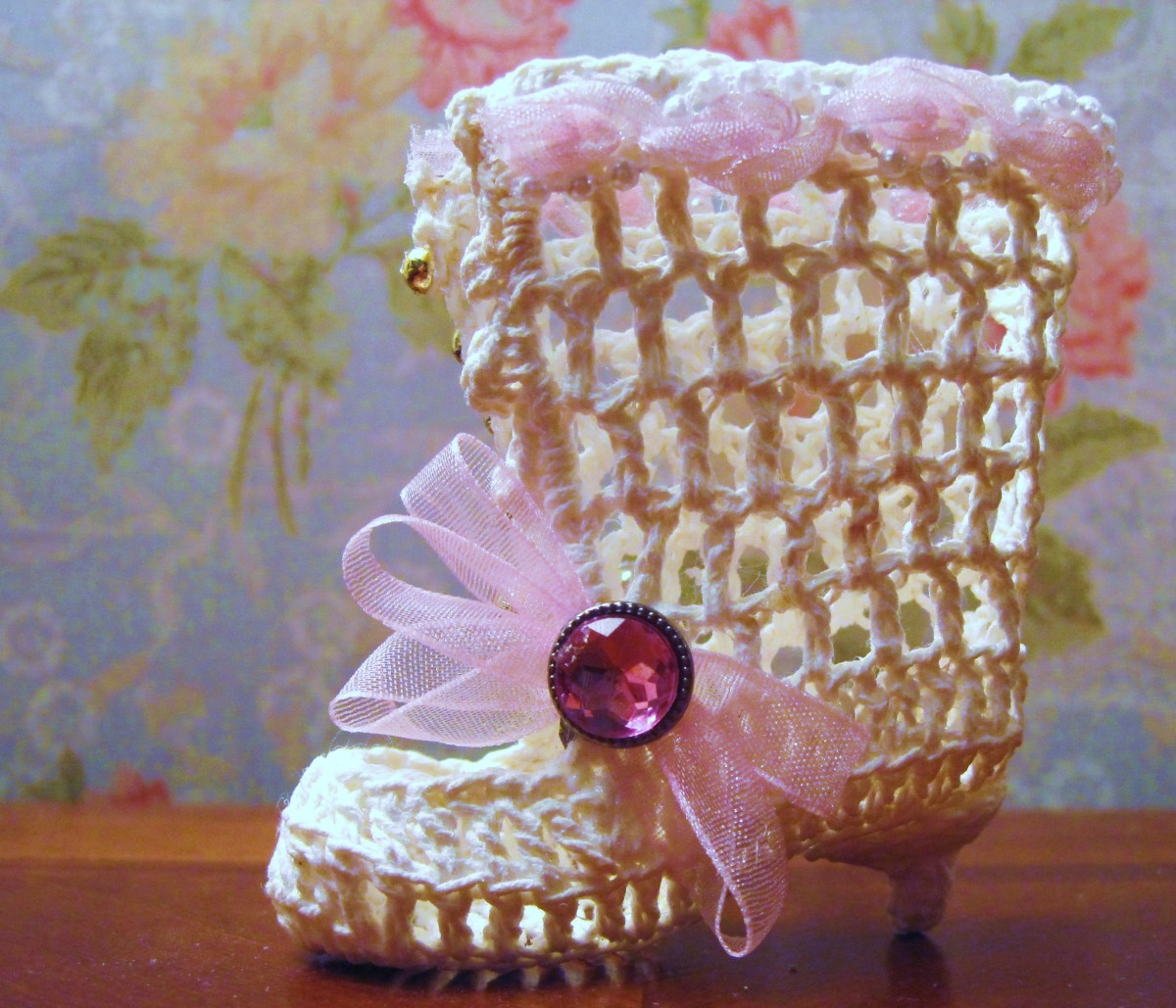 Vintage Style Victorian Crochet Lace Up Boot- Level of Difficulty: Intermediate