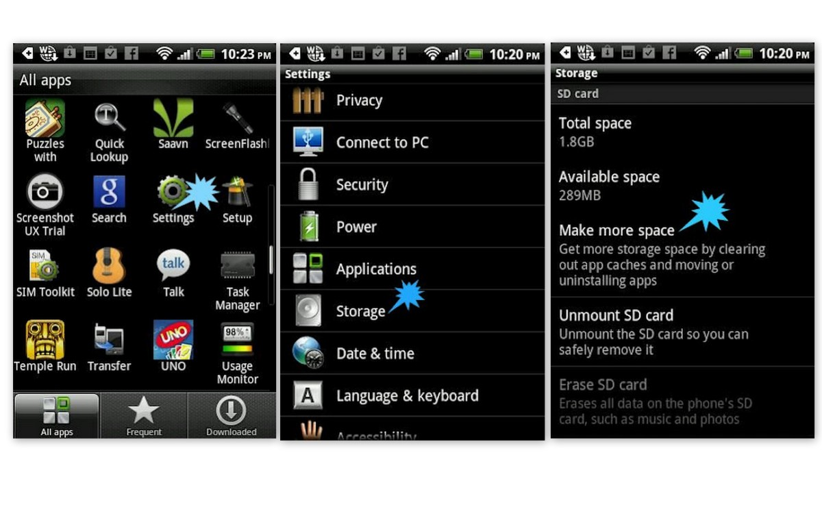 Delete files from HTC Mobile: All Apps -  Settings -  Storage