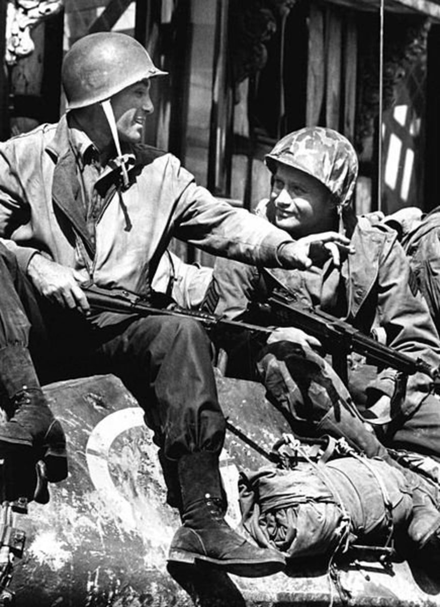 Rick Jason and Vic Morrow from the premiere of the television program Combat. August 1962.