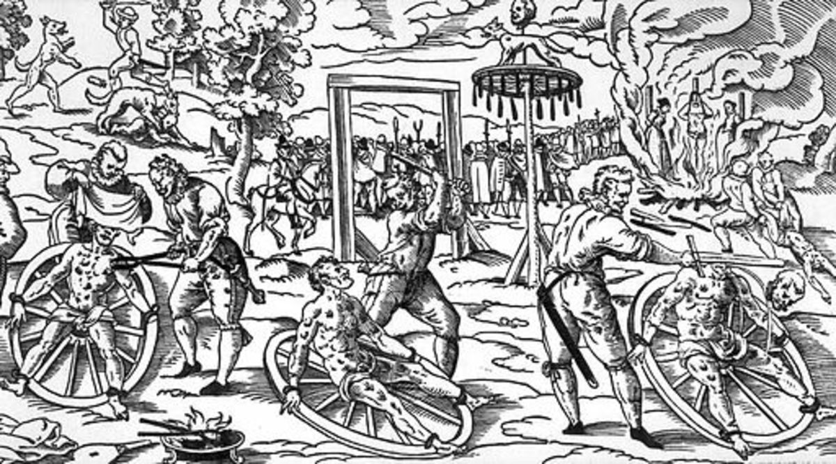 This wood cut shows the 'breaking wheel' as it was used in Germany in the Middle Ages. The exact date is unknown, as is the creator, but it depicts the execution of w:Peter Stumpp in Cologne in 1589.