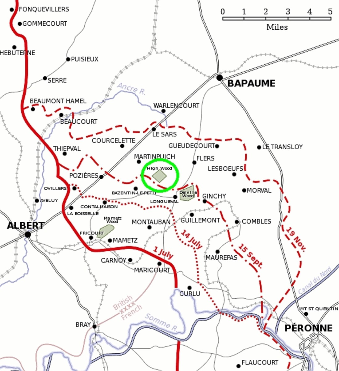 World War I: Map of Somme battlefield, 1916, showing High Wood circled in green.