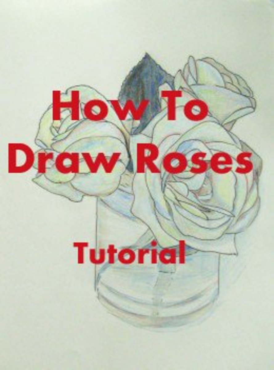 Drawing of Roses by author -  Ink pen and colored pencil