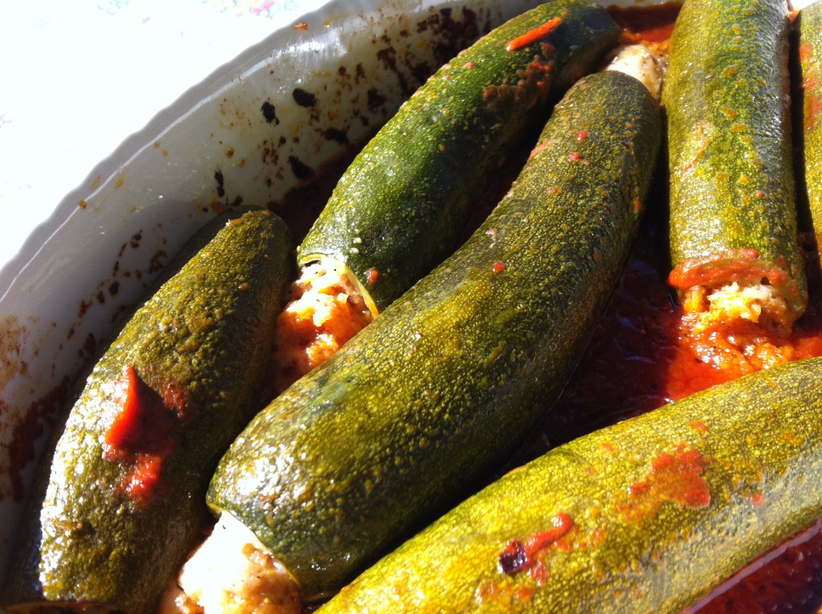 Stuffed Zucchini with Anchovies in Tomato and Wine Sauce