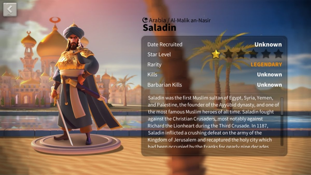 "Ultimate Saladin Talent Tree Build Guide in ""Rise of Kingdoms"""
