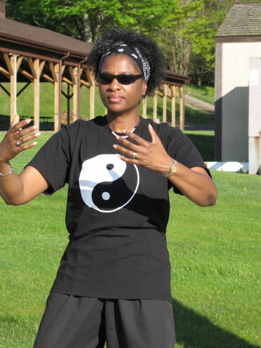 Janis enjoys her morning qi gong exercise at the 2011 SkyValley Taiji Retreat in Canaan Valley, West Virginia.