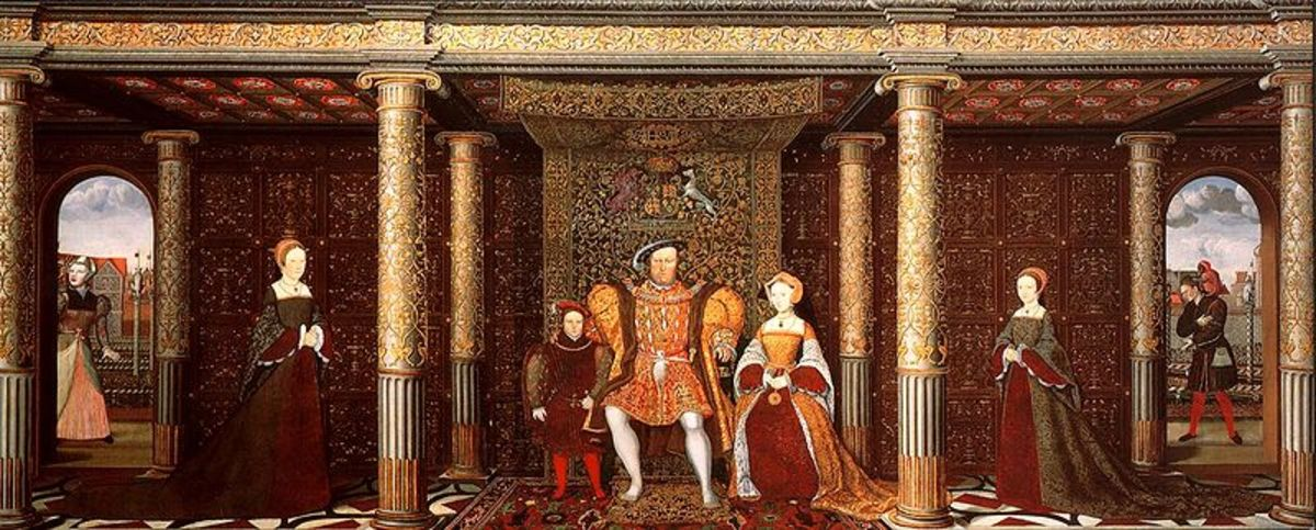 Henry VIII sits on a throne with his third wife Jane Seymour on his left and his son Edward to his right.  Princess Elizabeth stands on the left, Princess Mary to the right.  Jane Seymour died giving birth to Edward, so this is Henry's fantasy family