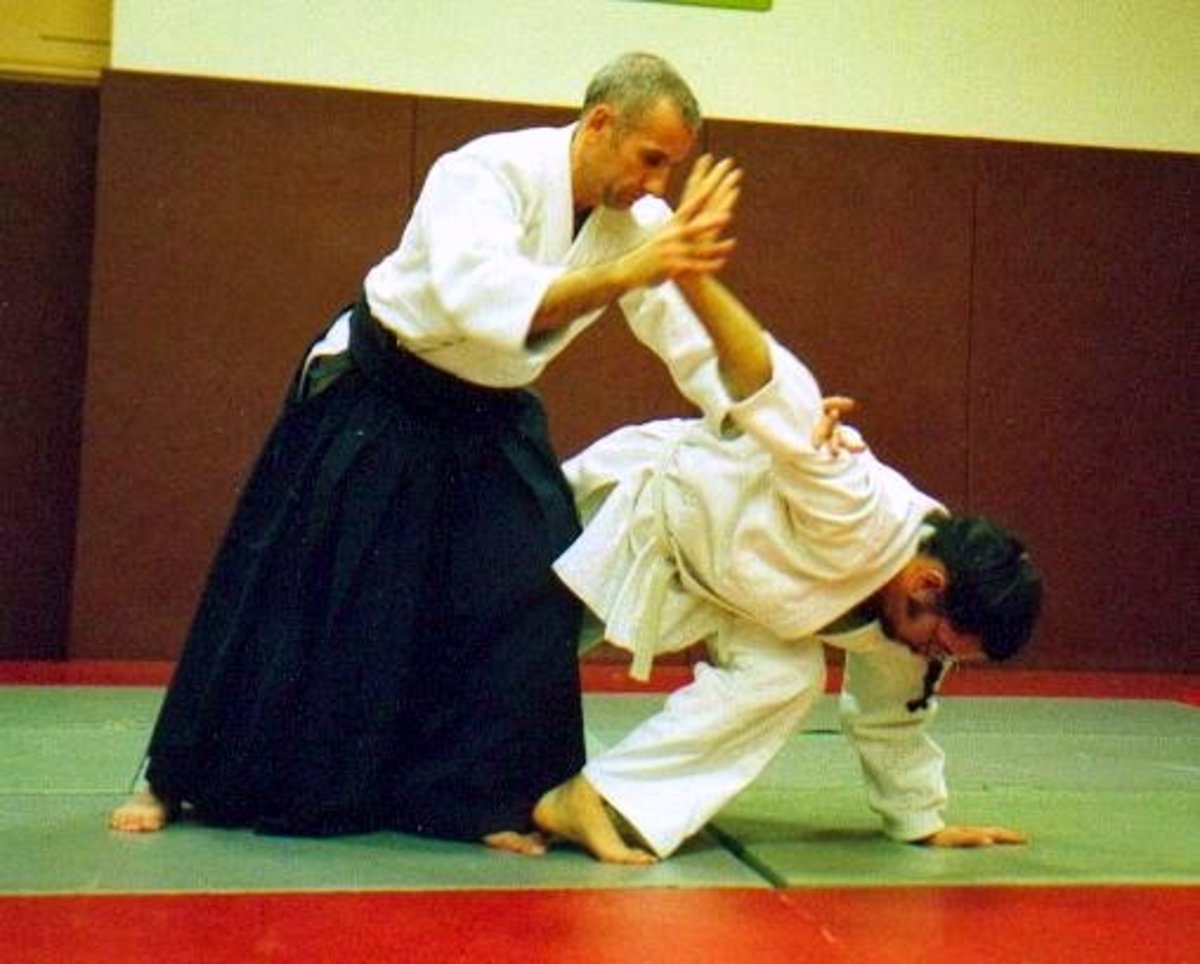 A teacher wearing a hakama executing an Aikido technique on a student wearing a gi.