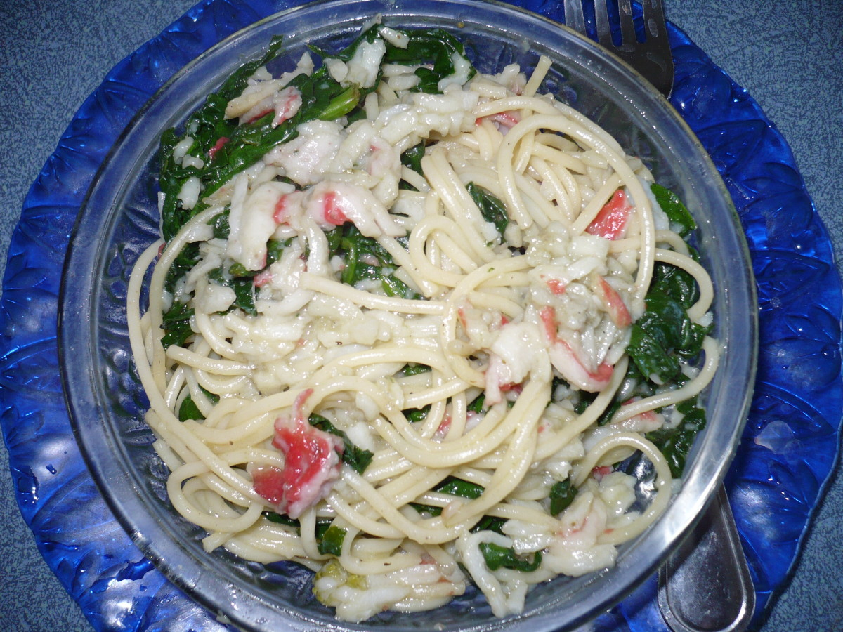 Crab Spinach Pasta With Garlic Butter