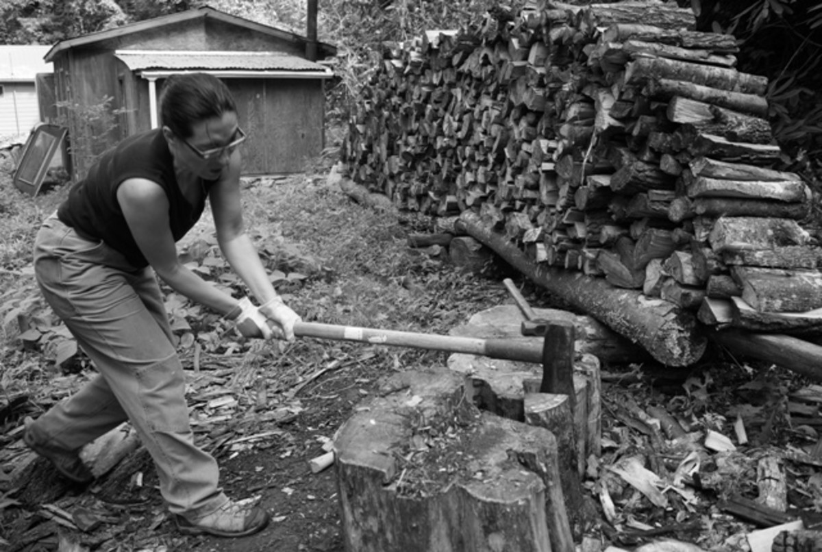 Splitting wood is a lot of work.