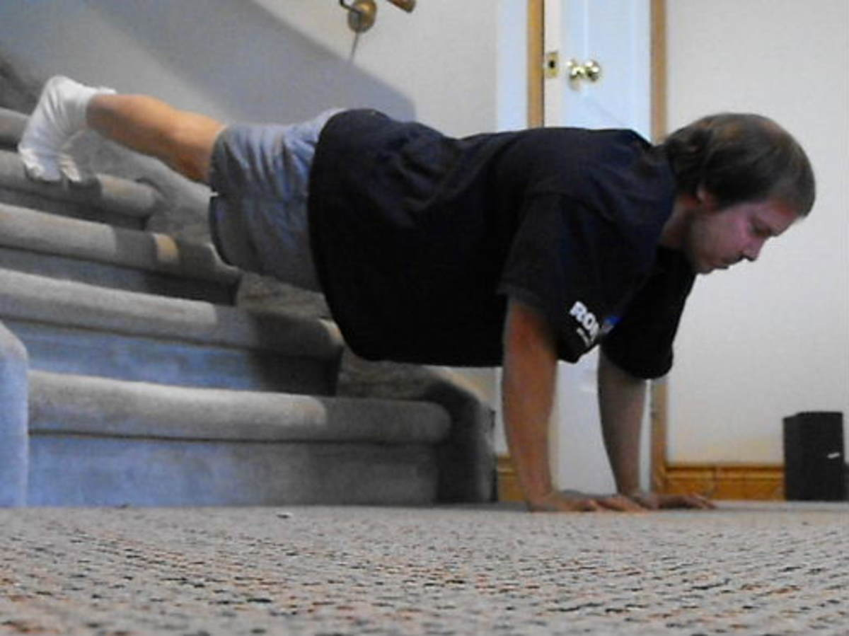 Decline push ups on the stairs.