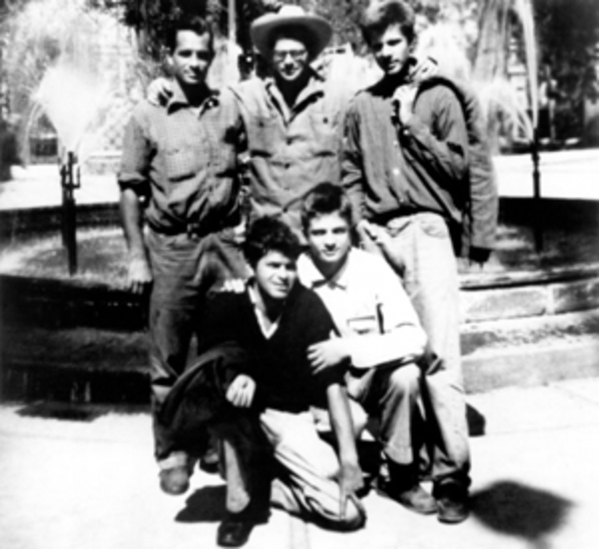 Jack Kerouac, Allen Ginsberg, Peter Orlovsky, Lafcadio Orlovsky, and Gregory Corso in NYC in 1956