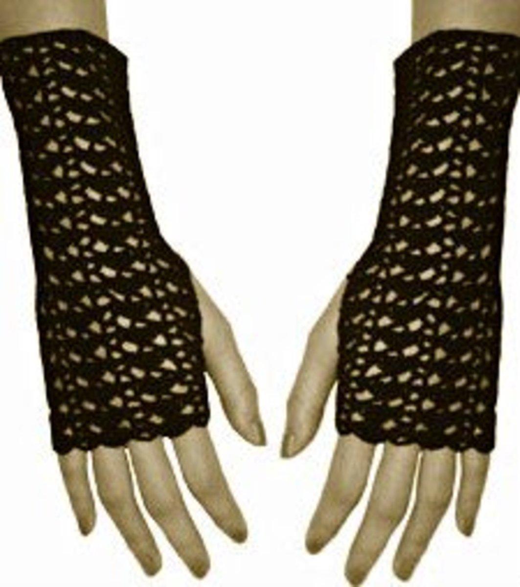 Fingerless gloves in black.