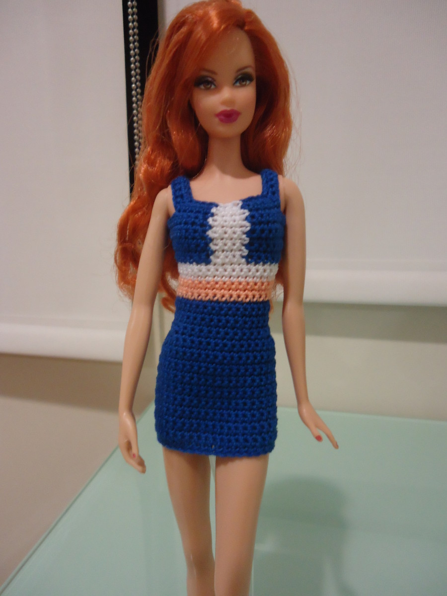 Free Dress Patterns on Barbie Colorblocked Panel Sheath Dress  Free Crochet Pattern
