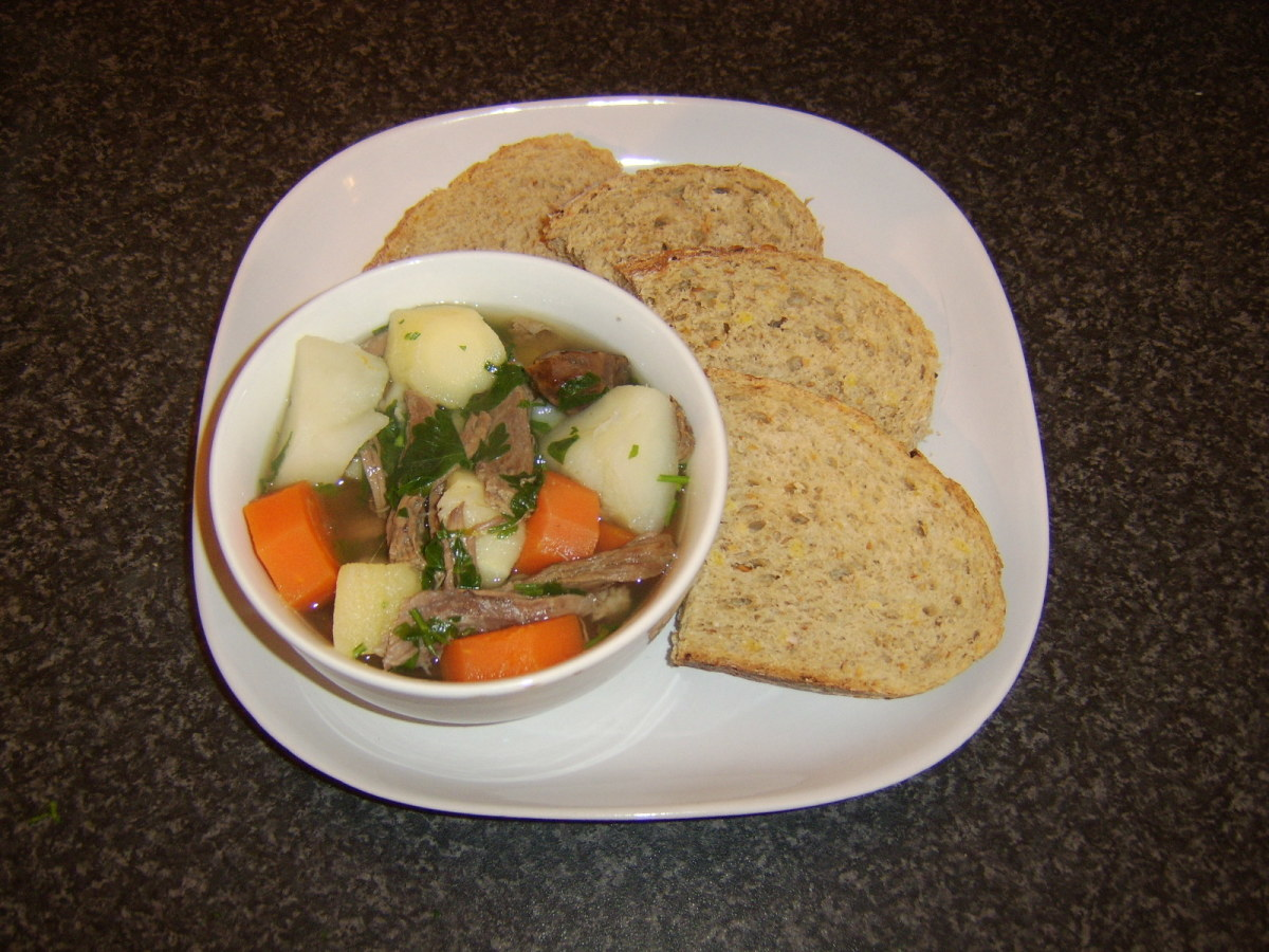 Chunky beef and chestnut soup with wheat, spelt and rye bread