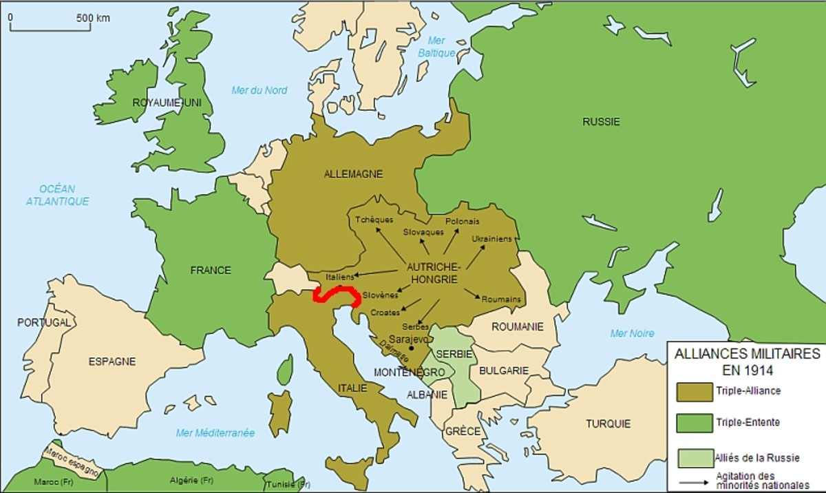 "World War One: Map of Europe 1914. The red ""S"" shaped line denotes the Italian-Austro-Hungarian Front."