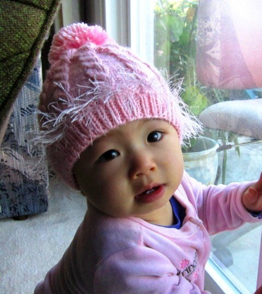 Pink Cabled Baby Hat